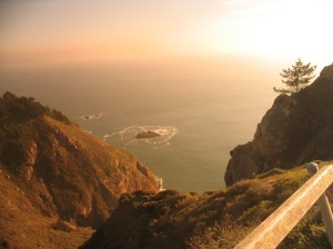 Marin cliff and sea