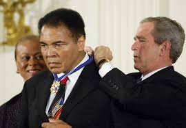 Muhammad Ali with Pres Bush