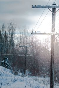 telephone pole snow