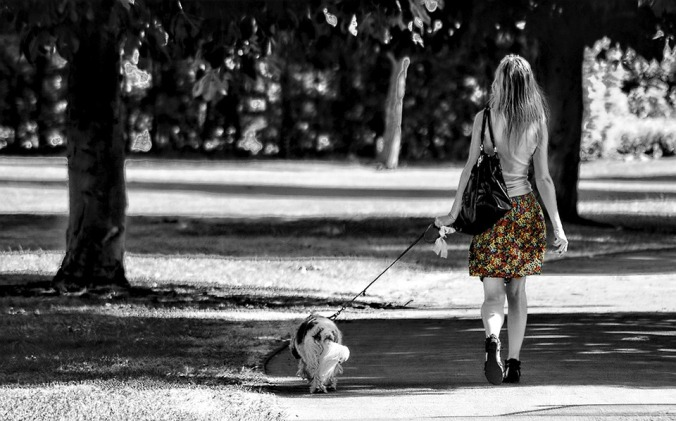 girl walkng dog
